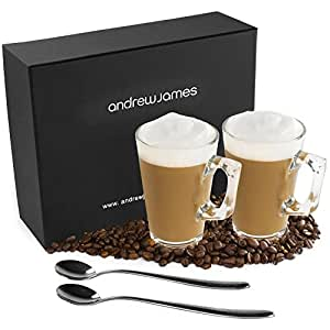 Andrew James Large Latte Glasses with Handles - 2 Toughened Glass Coffee Glasses Set with Long Handled Coffee Spoons - Contemporary Design in a Presentation Gift Box