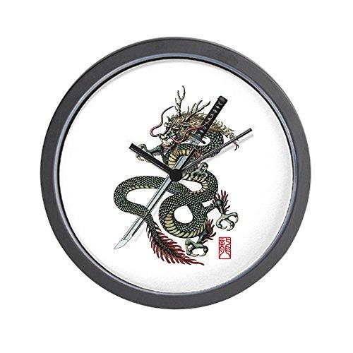 CafePress - Drache Katana Wanduhr - Einzigartige dekorative Wanduhr 25,4 cm - Tattoo Shogun