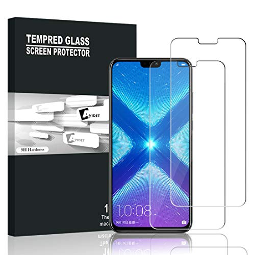 Huawei Honor 8X Panzerglas, AVIDET Displayschutz für Huawei Honor 8X, 9H Härte Super Langlebig, Anti-Öl,Panzerglasfolie Displayschutzfolie für Huawei Honor 8X (2 Stück)