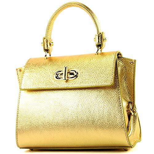 modamoda de - T182 - ital. Damen Henkeltasche Klein Leder, Farbe:Gold-Metallic Klein Leder