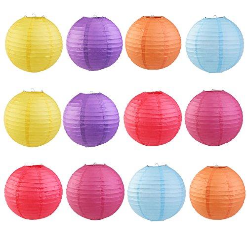 OUNONA Runde Papierlaternen mit Drahtriffeln 12-Zoll 6-farbig 12St