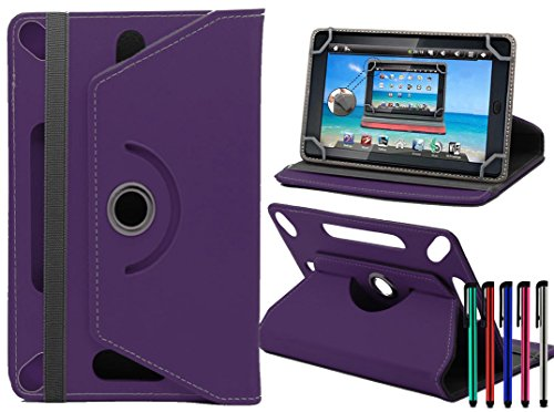 LOLO® Amazon Fire HD 10 Inch 360 Grad Rotation Universal PU Leder Hülle Abdeckung Ständer Tasche Beutel (Tablet Case - Cover- Folio) - Violette - 9 Kindle Fall Hd Fire