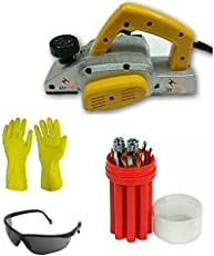 Toolscentre Powerful Electric Wood Hand Planer With Safety Goggles & Safety Gloves & Free Screwdriver Set.