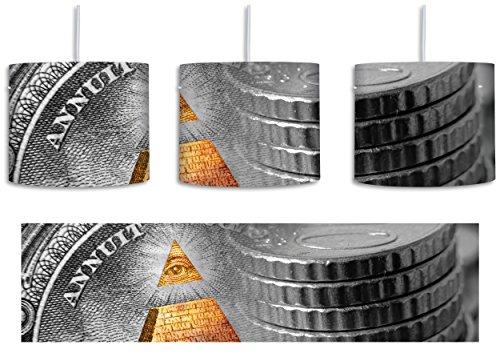 Illuminati Pyramide black and white Dollar schwarz/weiß inkl. Lampenfassung E27, Lampe mit Motivdruck, tolle Deckenlampe, Hängelampe, Pendelleuchte - Durchmesser 30cm - Dekoration mit Licht ideal für Wohnzimmer, Kinderzimmer, Schlafzimmer Amerikanischen Ein-dollar-münze