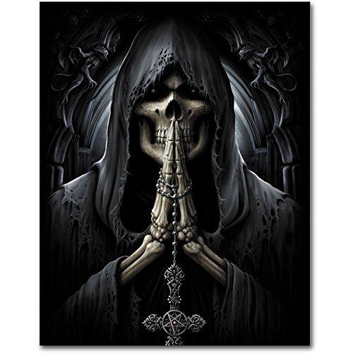 """Spiral Bandiera Bandiera Poster gotico """"personificata-Death Prayer-dimensioni circa 75x 110cm"""