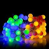 HanLuckyStars Guirnaldas Luces 10M 100 LED 8 Modos Solares Luces de Hadas de Cuerda [Impermeable] para Exterior,Jardínes, Hogares, Boda, Fiesta de Navidad (Multi-color)