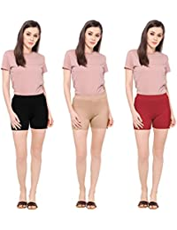 Ziya Women's Combo of Cotton Boy Leg Panties (Black; Beige and Red; Free Size)