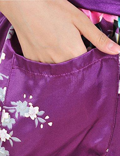 Surenow Kimono de Femme Motif Exotique Paon Fleur Kimono Satin Soyeux Peignoir Violet