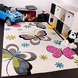 Kinder Teppich Schmetterling Design Pink Grün Blau Grau Creme, Grösse:80x150 cm