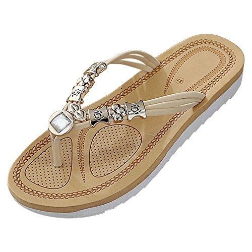 Eastlion Mulheres E Meninas Bohemia Chinelos De Verão Flip Flops Chinelos De Praia Sapatos Amarras