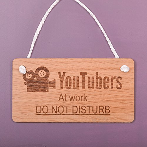 Monsety Placa Decorativa con Texto en inglés Funny Hanging Sign Youtubers At Work Do Not Disturb
