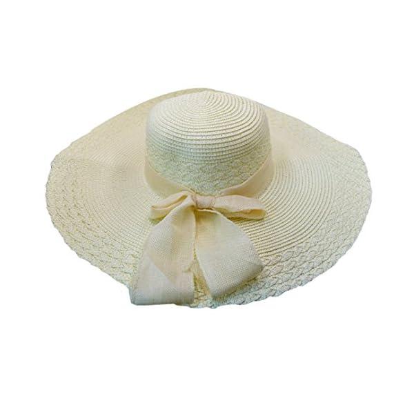 LA HAUTE Women Straw Sun Hat Foldable Wide Brim Floppy Summer Beach Hat Bowknot Sun Visor