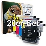 20er-Set D&C Druckerpatronen für Brother LC-985 DCP J125 J140 W J315 W J515 W MFC J220 J265 W J410 J415 W ersetzt LC-985 LC39 LC975 LC-985