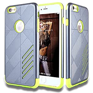 """iphone 6 Plus Case,DUDETOP®Ultra-thin Shockproof Scratch-Resistant Resist Cracking Protective Cover [ Armor ] Hard PC Soft Silicone Back Case Skin for iphone 6 Plus 5.5""""(Gunmetal Gray&Green)"""