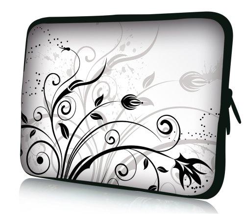 wortek Universal Notebooktasche Schutzhülle aus Neopren für Laptops bis ca. 17,3 Zoll - Weiß Schwarz Ranke