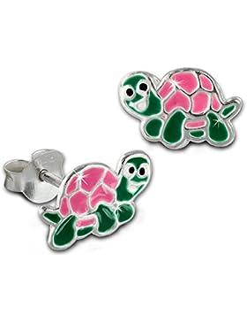 Teenie-Weenie Kinder Ohrring kleine Schildkröte rosa Ohrstecker 925 Kinderschmuck TW SDO8137A
