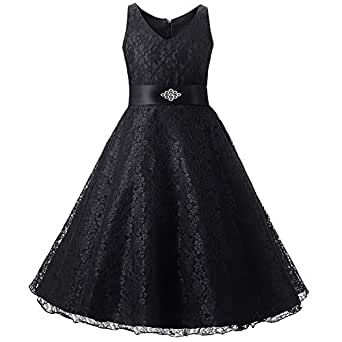 LSERVER Girls fashion Princess Lace Dresses for Wedding Party Bridesmaid