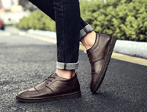 2018 Nouveau Printemps Hommes En Cuir Marron Branché Mode Hommes Casual Chaussures Derby Oxford Chaussures brown