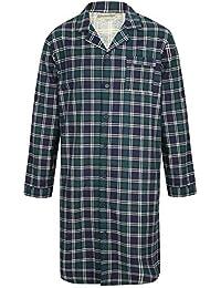 f897f8df79 Walker Reid Mens Checked Nightshirt 100% Flannel Cotton Button Up Tartan  Nightwear (Medium to