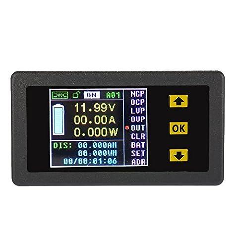 KKmoon DC 0.01-120V 0.01-30A Consommation d'Energie Digital Bidirectionnel en Ecran Couleur, Tester Courant / Voltage / Capacité / Quantité d'Electricité / Coulomb etc.