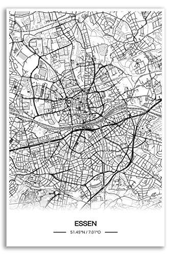 Zulumaps Poster 30x45cm Stadtplan Essen - Hochwertiger Kunstdruck