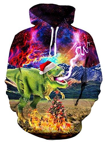 Loveternal Unisex 3D Weihnachten Drachen drucken Hoodies Hipster Neuheit übergroßen Hiphop Pullover Hoodie Sweatshirt für Paar Junioren XL - Kleid Hip Hop