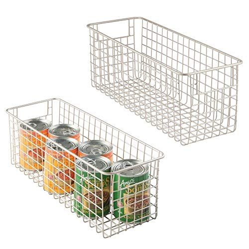 mDesign 2er-Set Allzweckkorb - tiefer Aufbewahrungskorb aus Metall - kompakter, rostbeständiger Drahtkorb mit Griffen - universelle Gitterbox für Küche, Bad und andere Räume - silber