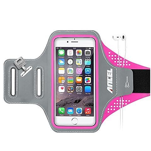 ANCEL Imperméable Très Mince Poids Léger Sports Entraînement Brassard pour iPhone 6 6S Plus 5.5 Pouces, Samsung S6 S7 Edge,Honor 8 Avec Écouteur Slots Porte Clés -