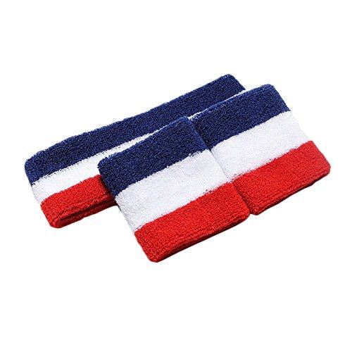 Bunte Sport-Stirnband Schweißband mit Manschetten (Blau / Weiß / Rot)