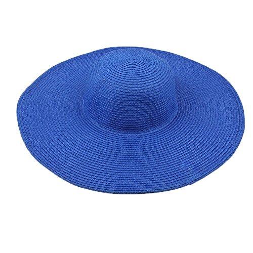 Fushing Stroh Damen Sommer Strand Sunhat mit gratis Farbband für die Sunshading, Reisen, Shoot blau blau Frauen Blauen Eimer Hüte