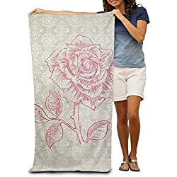 LUOL Soft Beach Towel Beautiful Rose Polyester Home Bathroom Hotel Bath Sheet Sets Durable Sports Absorbent Swimming Pool Spa Gym Towels Easy Care Machine Wash