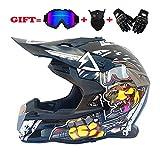Ltongx Dual Sport Off Road Motorrad Motocross Helm Dirt Bike ATV D.O.T Zugelassener Rockstar Helm (S, M, L, XL, XXL),Whitewardog,XXL