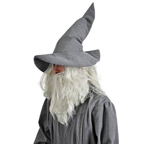 Grauer Zauberer Hut Magier Hexe Gandalf Kostüm Elbenwald Zubehör weich (Hut Gandalf Kostüm)