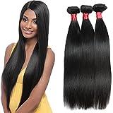 Elegant Queen Brazilian Straight Hair 3 Bundles Brazilian Remy Human Hair Extensions Natural Black 8A 100% Virgin Unprocessed Real Human Hair Weave Bundles 8 8 8Inch