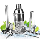 Kit Shaker à Cocktail en Inox 550ml avec Filtre Interne, Doseur à Double Mesure