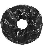 Caripe Damen Loop Schal Schlauchschal Musik Noten Notenschlüssel (schwarz)