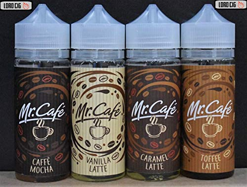 MR CAFE UK Best coffee Quality E Liquid Vape shisha Juice 120ml shortfill Capacity Vape Oil with Child Lock E Liquid Fits All E Cigarettes Starter Kits 70VG/30PG No Nicotine (Caffe Mocha)