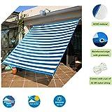 Insun Toldo contra el sol y rayos UV Vela de Sombra para exterior Parasol Rectangula protección UV Azul y blanco a rayas 400 x 300 cm