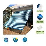 Insun Sonnensegel Rechteckig Sonnenschutz Garten UV Schutz Premium Schatten Tuch Markisen Blau-weiß Gestreift 400 x 500 cm