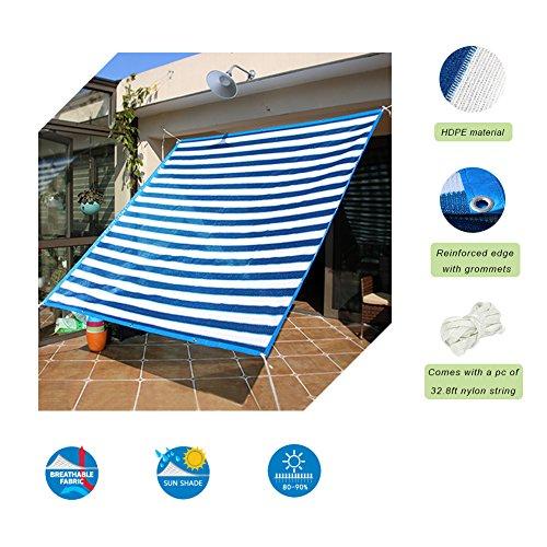 Insun Sonnensegel Rechteck Sonnenschutz Garten UV Schutz Premium Schatten Tuch Markisen Blau-weiß Gestreift 200 x 400 cm