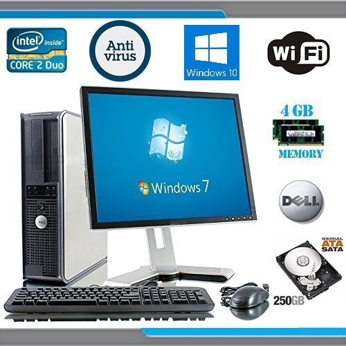 Dell OptiPlex Computer Tower with Dell LCD Black / Silver Monitor - Genuine Windows 10 - Intel Core 2 Duo CPU - 250GB Hard Drive - 4GB RAM - DVD - Wireless Internet Ready - Keyboard and Mouse