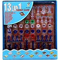JABA'S® 13 in 1 Family Magnetic Board Game Including Chess, Snakes-Ladders, Backgammon, Ludo, Tic-Tac-Toe, Checkers…