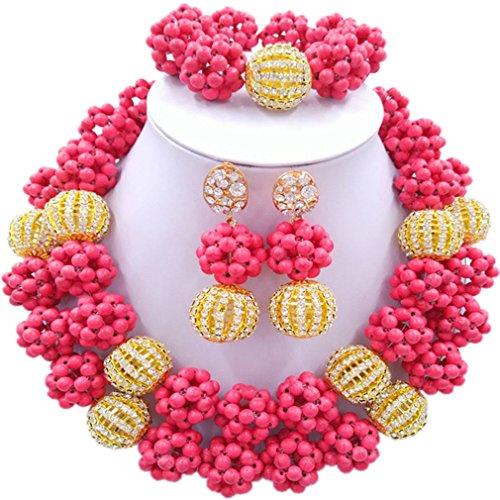 Laanc 2rows Rouge Collier de perles Turquoise et strass Doré du Nigeria africain Bijoux Femme Définit Deep Pink and Rhinestone Gold