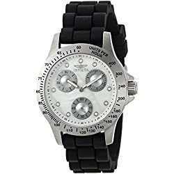 Invicta Women's Speedway Black Silicone Band Steel Case Flame-Fusion Crystal Quartz White Dial Watch 21968