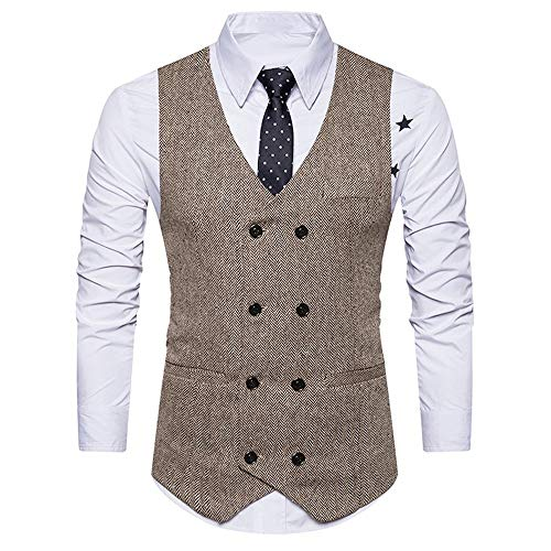 Luckycat Männer Formale Tweed Check Zweireiher Weste Retro Slim Fit Anzugjacke Mode 2018 -