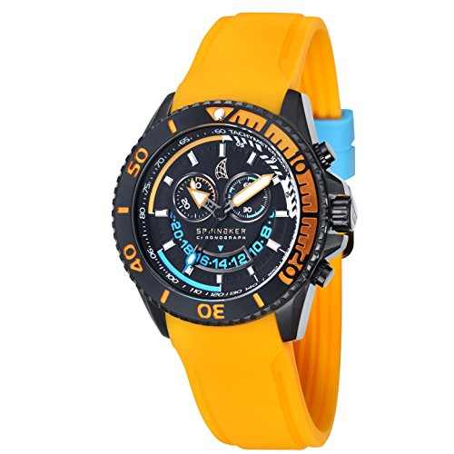 Spinnaker Men's Amalfi Chrono Watch with IP Black Solid stainless steel case, Black dial and Orange Integrated Silicon Strap (SP-5021-04)