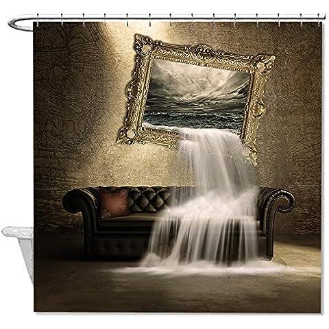 whiangfsoo Fantasy Wasserfall poliestere bagno doccia tenda marrone, #7,