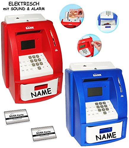 alles-meine.de GmbH 2 TLG. Set _ elektrische Spardosen -  Geldautomat  - blau + rot - incl. Namen - mit Sound + PIN Geldkarte + Sparzähler + Alarm Funktion + Zählfunktion / sta.. (Elektrischen Pokemon Karten)