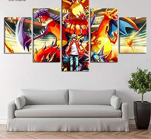e Wandkunst Hd Gedruckt 5 Stücke Pokemon Leinwand Malerei Cuadros Modernes Dekor Raum Kunstwerk Rahmenlos ()