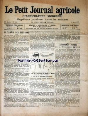 PETIT JOURNAL AGRICOLE (LE) [No 503] du 20/08/1905 - LE TAUPIN DES MOISSONS - LES CHAMPS - LA FERME - LES VIGNES - PETITES CULTURES
